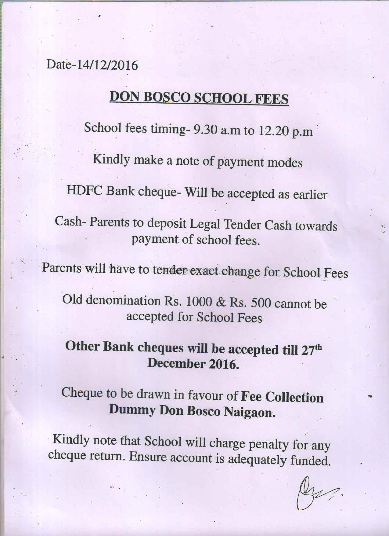 NOTICE REGARDING FEES ALL SECTION